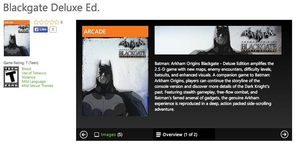 Parece que tendremos una versión de Batman: Arkham Origins Blackgate en HD