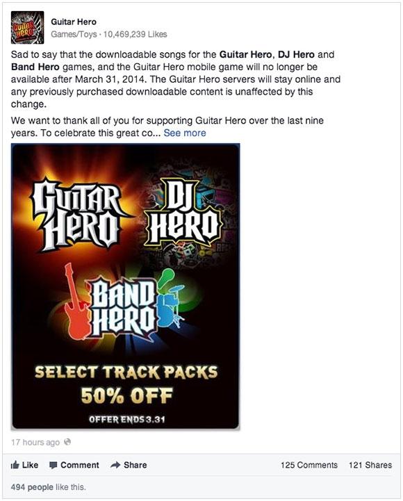 Los Guitar Hero desaparecen un poco más a partir del 31 de marzo