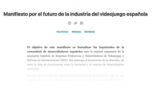 Manifiesto por el futuro de la industria del videojuego española