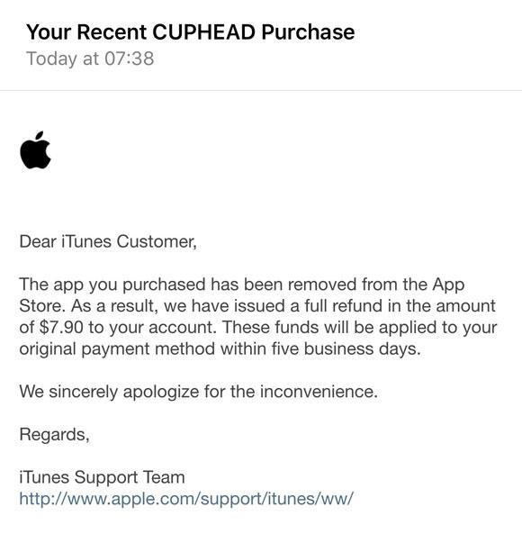 Apple ofrece devoluciones automáticas a quienes compraron el Cuphead pirata