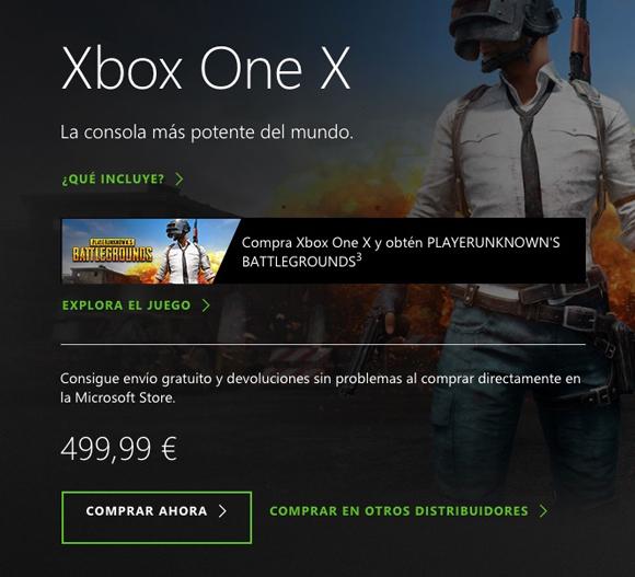 Xbox One X incluirá una copia de PUBG hasta el 31 de diciembre