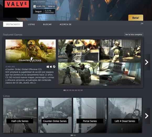 Desarrolladores y editores podrán tener una página personalizada en Steam