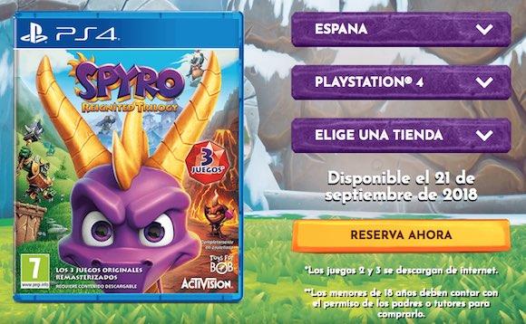 Solo el primer juego de la Spyro: Reignited Trilogy viene en el disco