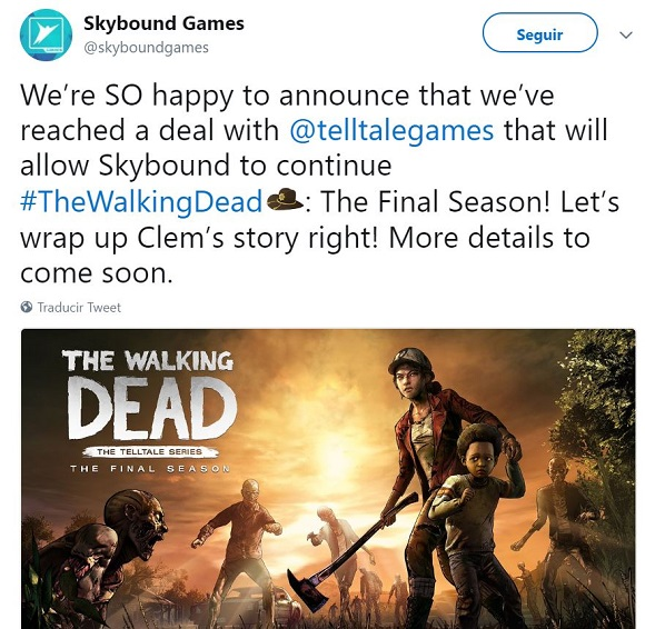 Telltale llega a un acuerdo con Skybound para finalizar The Walking Dead
