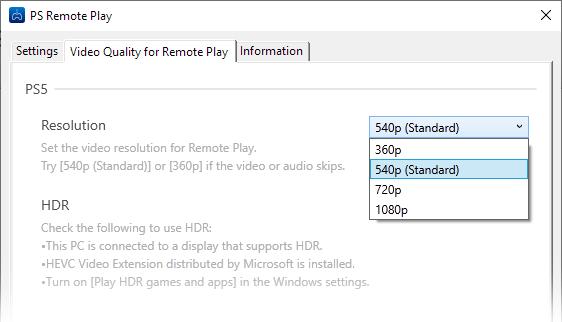 Opciones Remote Play PS5